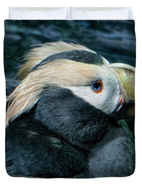 Tufted Puffin Profile Duvet Cover