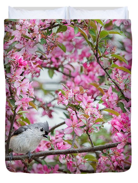 Tufted Titmouse In A Pear Tree Duvet Cover by Bill Wakeley