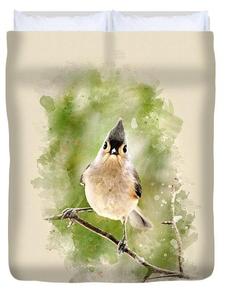 Tufted Titmouse - Watercolor Art Duvet Cover by Christina Rollo