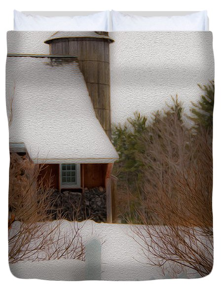 Duvet Cover featuring the photograph Tuftonboro Farm In Snow by Brenda Jacobs