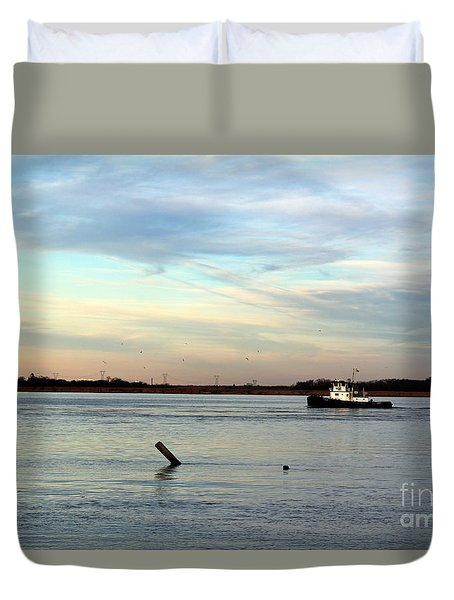 Duvet Cover featuring the photograph Tug Boat by David Jackson