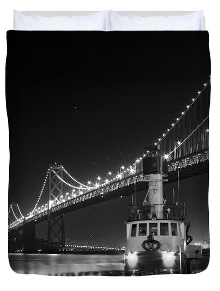 Tugboat Under The Bay Bridge Duvet Cover