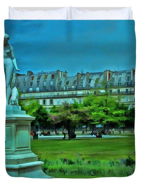 Tuileries Gardens Duvet Cover by Allen Beatty