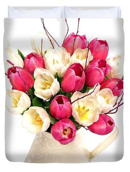 Tulip Blooms Duvet Cover by Debra  Miller