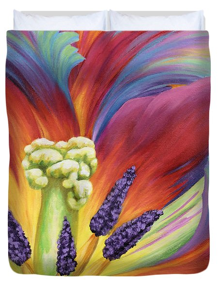 Duvet Cover featuring the painting Tulip Color Study by Jane Girardot