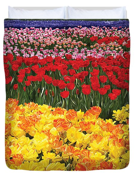 Duvet Cover featuring the digital art Tulip Field by Tim Gilliland