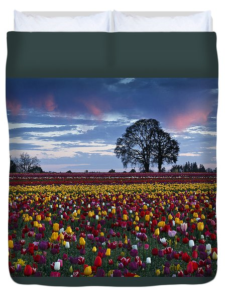 Tulip Field's Last Colors Duvet Cover by Wes and Dotty Weber