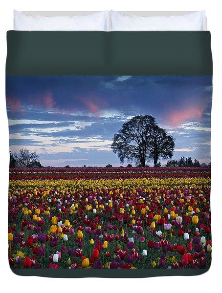 Tulip Field's Last Colors Duvet Cover
