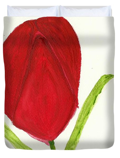 Duvet Cover featuring the painting Tulip Of The Heart by Tracey Williams
