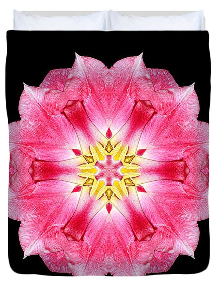Tulip Peach Blossom IIi Flower Mandala Duvet Cover by David J Bookbinder