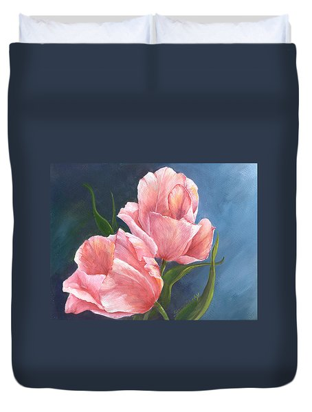 Duvet Cover featuring the painting Tulip Waltz by Sherry Shipley