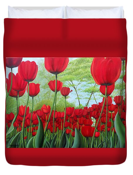 Tulipanes  Duvet Cover by Angel Ortiz