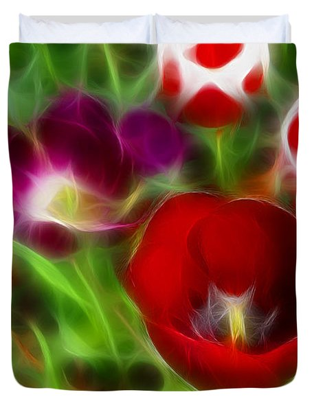 Tulips-6967-fractal Duvet Cover by Gary Gingrich Galleries