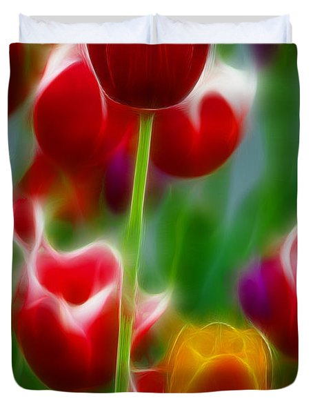 Tulips-7069-fractal Duvet Cover by Gary Gingrich Galleries