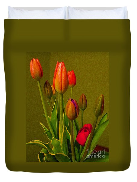 Tulips Against Green Duvet Cover by Nina Silver