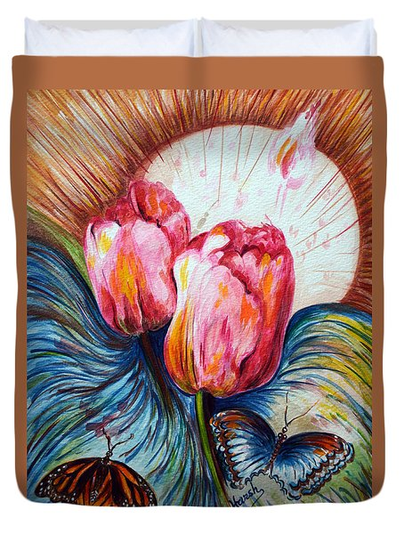 Tulips And Butterflies Duvet Cover by Harsh Malik