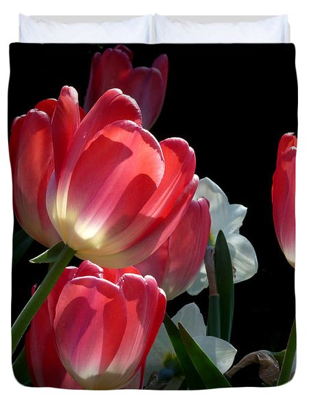 Duvet Cover featuring the photograph Tulips And Daffodils by Lucinda Walter