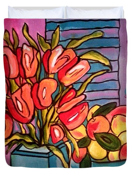 Tulips And Fruit Duvet Cover
