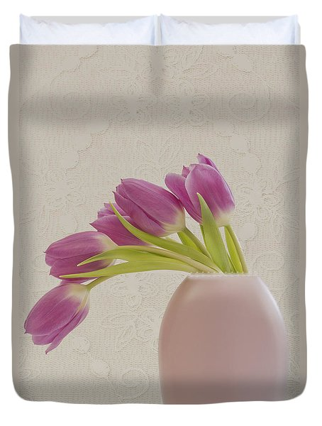 Tulips And Lace Duvet Cover