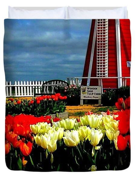 Tulips And Windmill Duvet Cover by Susan Garren