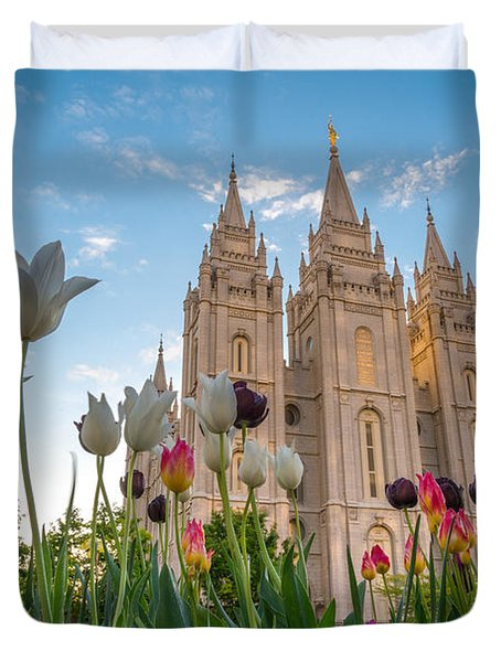 Tulips At The Temple Duvet Cover