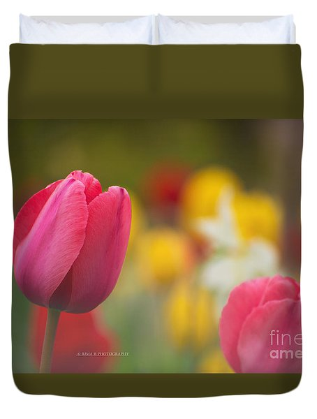 Duvet Cover featuring the photograph Tulips Blooming by Rima Biswas