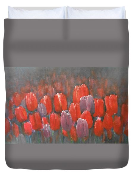 Duvet Cover featuring the painting Tulips Blossom 2 by Jane See