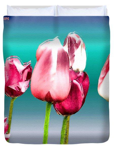 Duvet Cover featuring the digital art Tulips by Daniel Janda