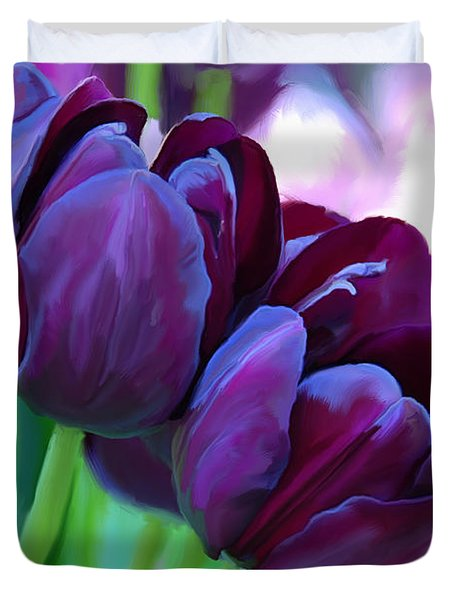 Tulips-dark-purple Duvet Cover by Tim Gilliland