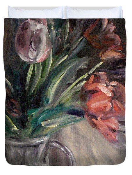 Duvet Cover featuring the painting Tulips by Donna Tuten