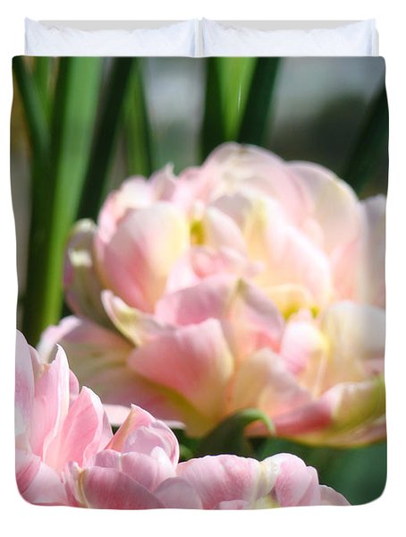 Tulips Flowers Garden Art Prints Pink Tulip Floral Duvet Cover by Baslee Troutman