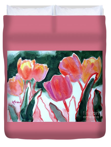 Tulips For The Love Of Patches Duvet Cover by Kathy Braud