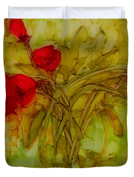 Tulips In A Glass Vase Duvet Cover by Patricia Awapara