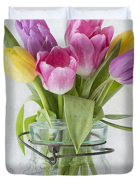 Tulips In A Jar Duvet Cover
