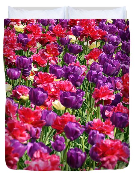 Tulips In A Meadow Duvet Cover