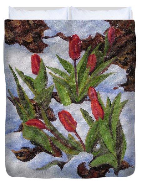 Tulips In Snow Duvet Cover