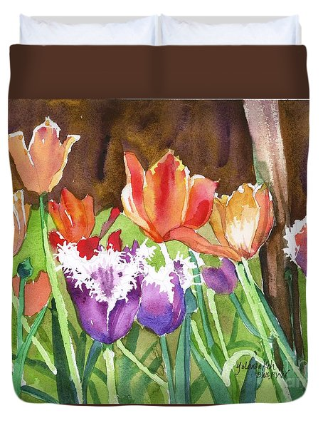 Tulips In Spring Duvet Cover by Yolanda Koh