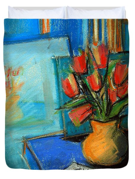 Tulips In The Mirror Duvet Cover by Mona Edulesco