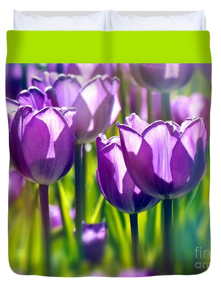 Duvet Cover featuring the photograph Tulips Mauve by France Laliberte