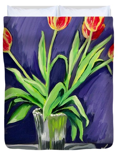 Tulips On The Table Duvet Cover