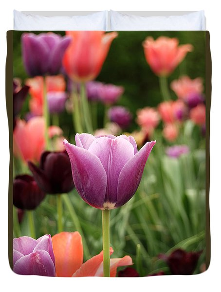 Tulips Welcome Spring Duvet Cover by Eva Kaufman