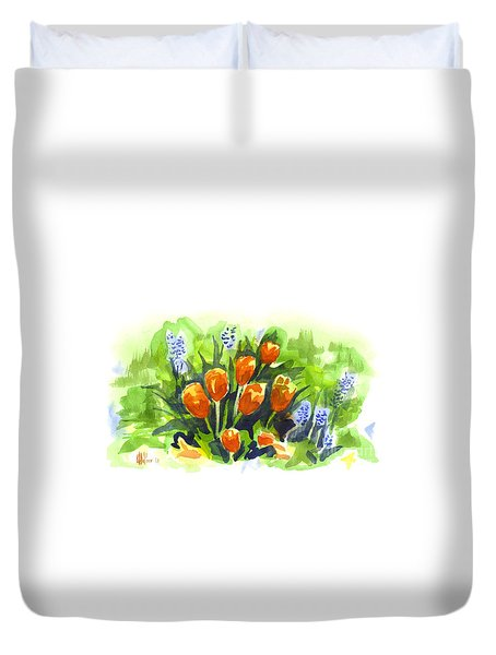 Tulips With Blue Grape Hyacinths Explosion Duvet Cover by Kip DeVore