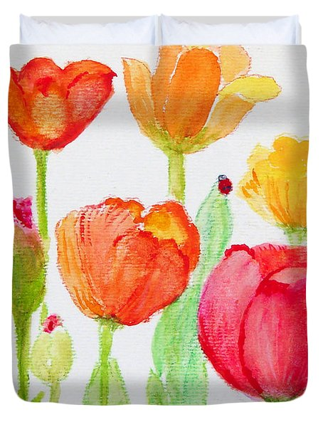 Tulips With Lady Bug Duvet Cover by Ashleigh Dyan Bayer