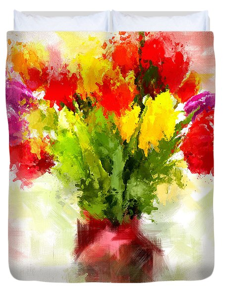 Tulips With Love Duvet Cover by Lourry Legarde