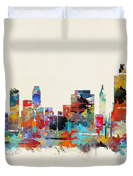 Tulsa Oklahoma Skyline Duvet Cover
