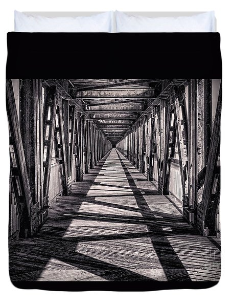 Tulsa Pedestrian Bridge In Black And White Duvet Cover