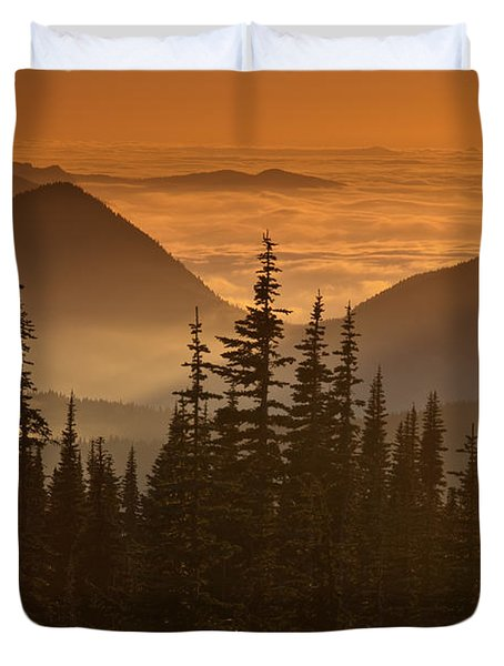 Tumtum Peak At Sunset Duvet Cover by Jeff Goulden