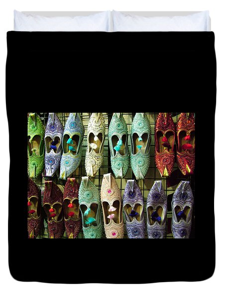 Duvet Cover featuring the photograph Tunisian Shoes by Donna Corless