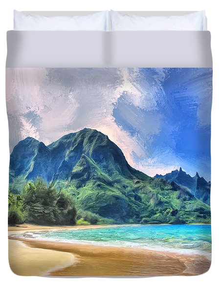 Tunnels Beach Kauai Duvet Cover
