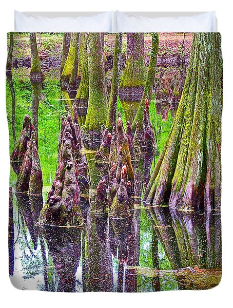 Tupelo/cypress Swamp Reflection At Mile 122 Of Natchez Trace Parkway-mississippi Duvet Cover by Ruth Hager